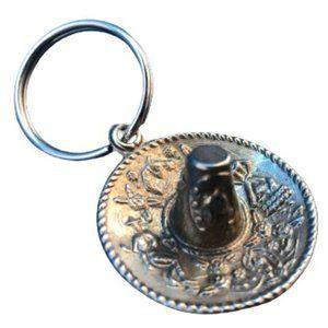 Vintage Silver Mexican Boho Sombrero Hat Key Ring